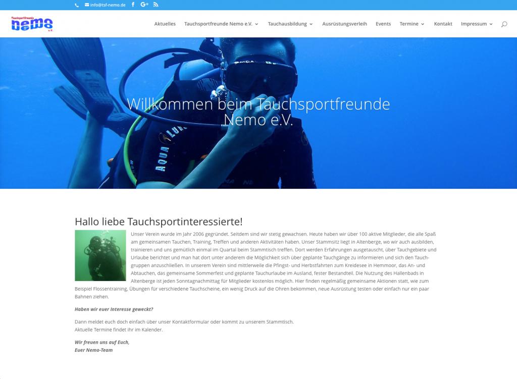 Neue Website der Tauchsportfreunde Nemo e.V. online